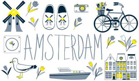 Illustration with symbols of Amsterdam and the Netherlands.